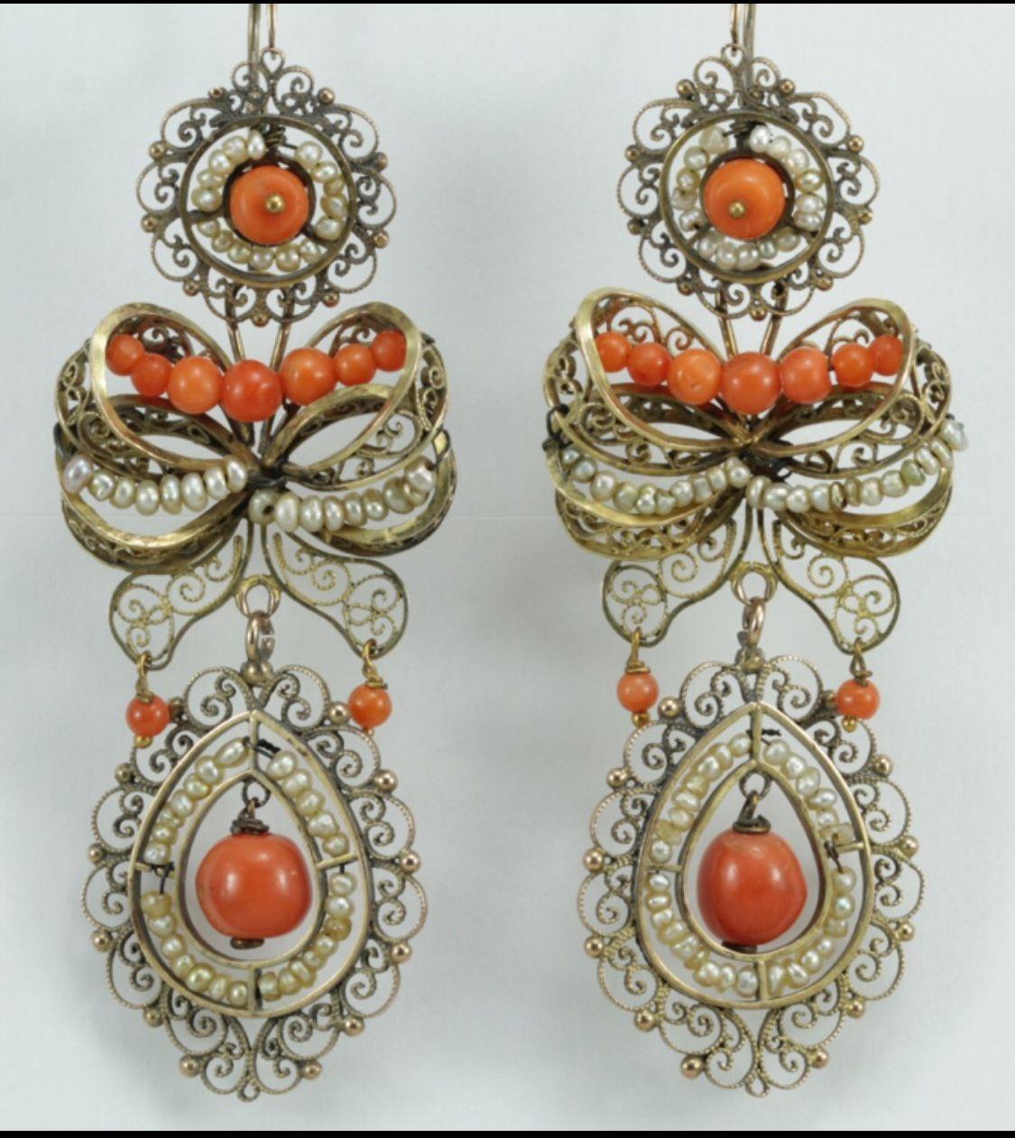 C Pearls Gold Filigree Earrings