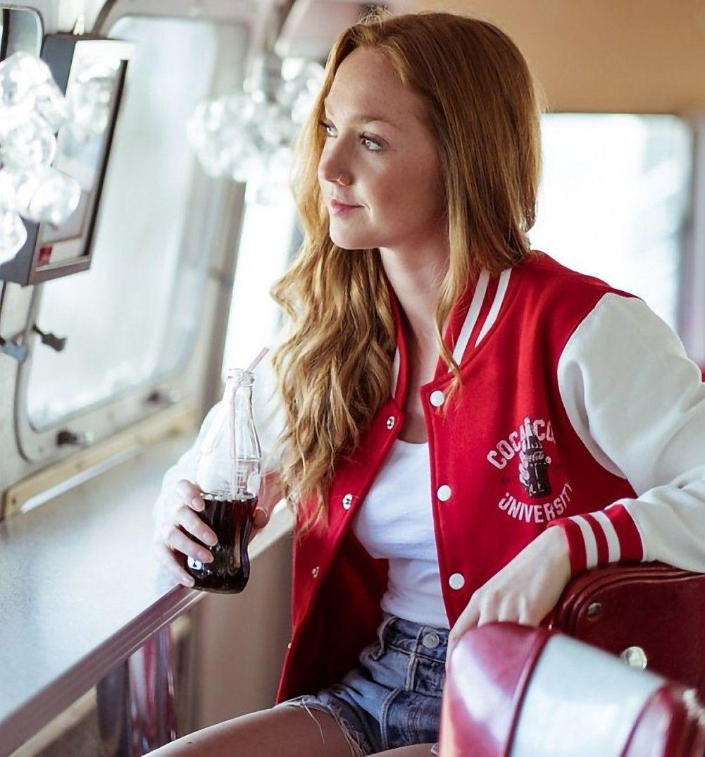 Women's Coca-Cola University Varsity Jacket #varsityjacketoutfit