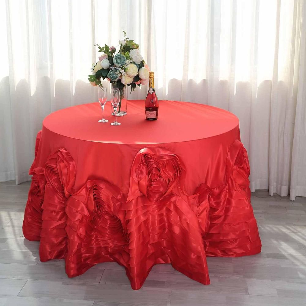 120 Red Large Rosette Round Lamour Satin Tablecloth Table Cloth Bridal Table Rosette Tablecloth