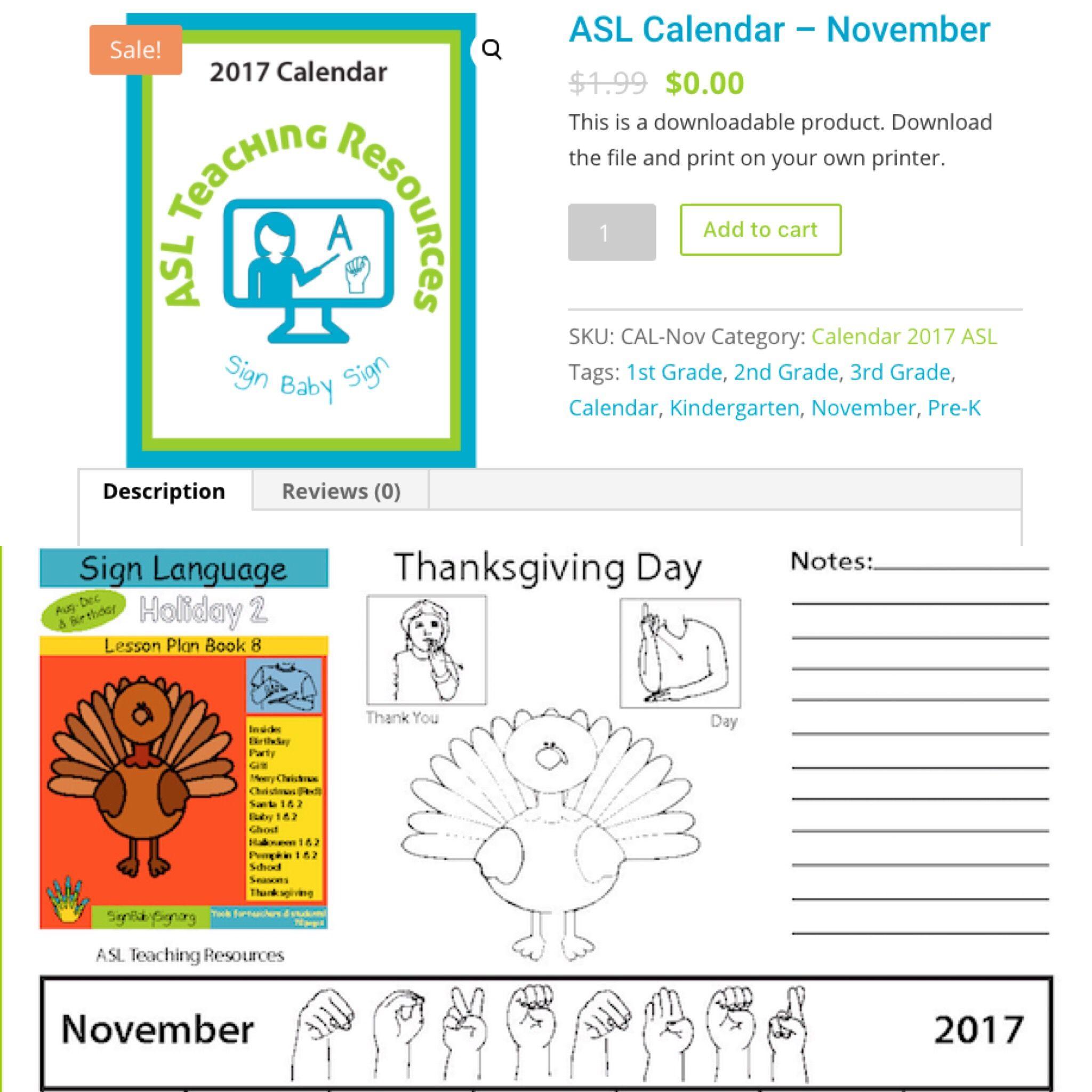 Free 4 All Sign Language Calendar Nov