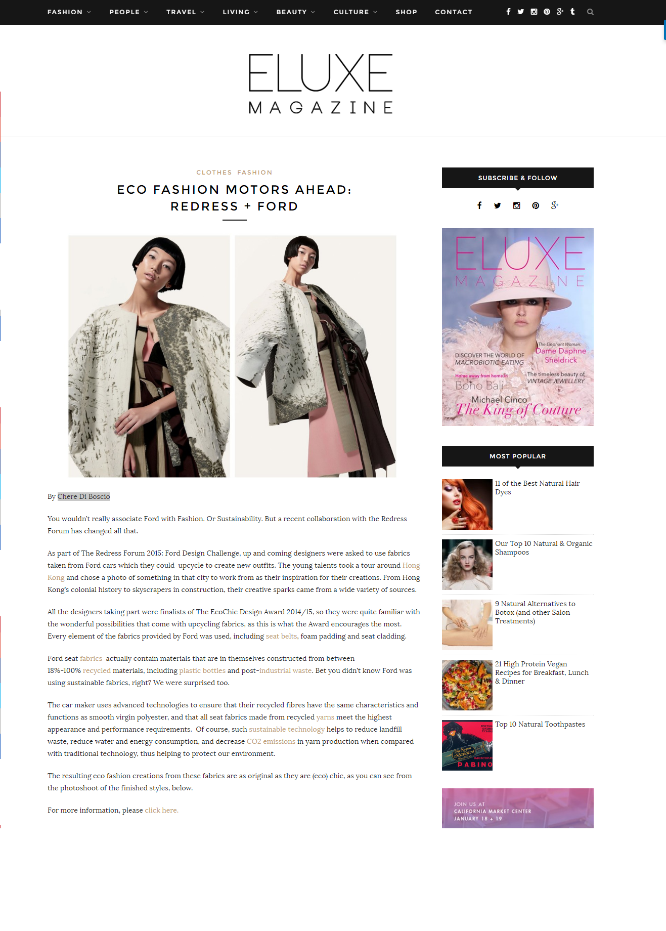 Eco Fashion Motors Ahead Redress Ford Eluxe Magazine Eco Fashion Fashion People Fashion