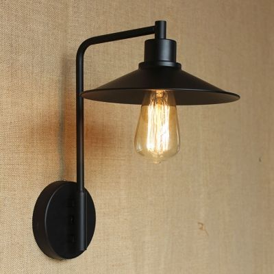 Barn Small Wall Sconce Cone Metal In Black Finish Wall Sconces