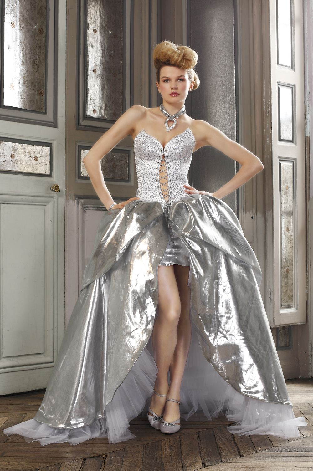 Ely shay wedding dress collections 2012 catechu silver for Silver wedding dresses for bridesmaids