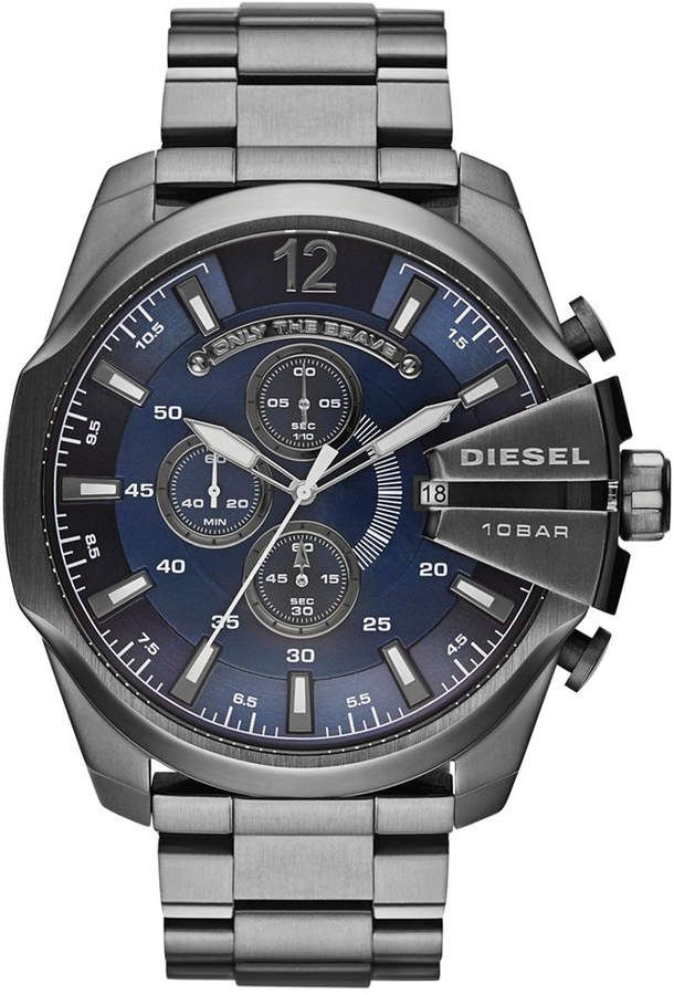 afbeea0e822 Diesel Men s Chronograph Mega Chief Gunmetal Ion-Plated Stainless Steel  Bracelet Watch 59x51mm DZ4329