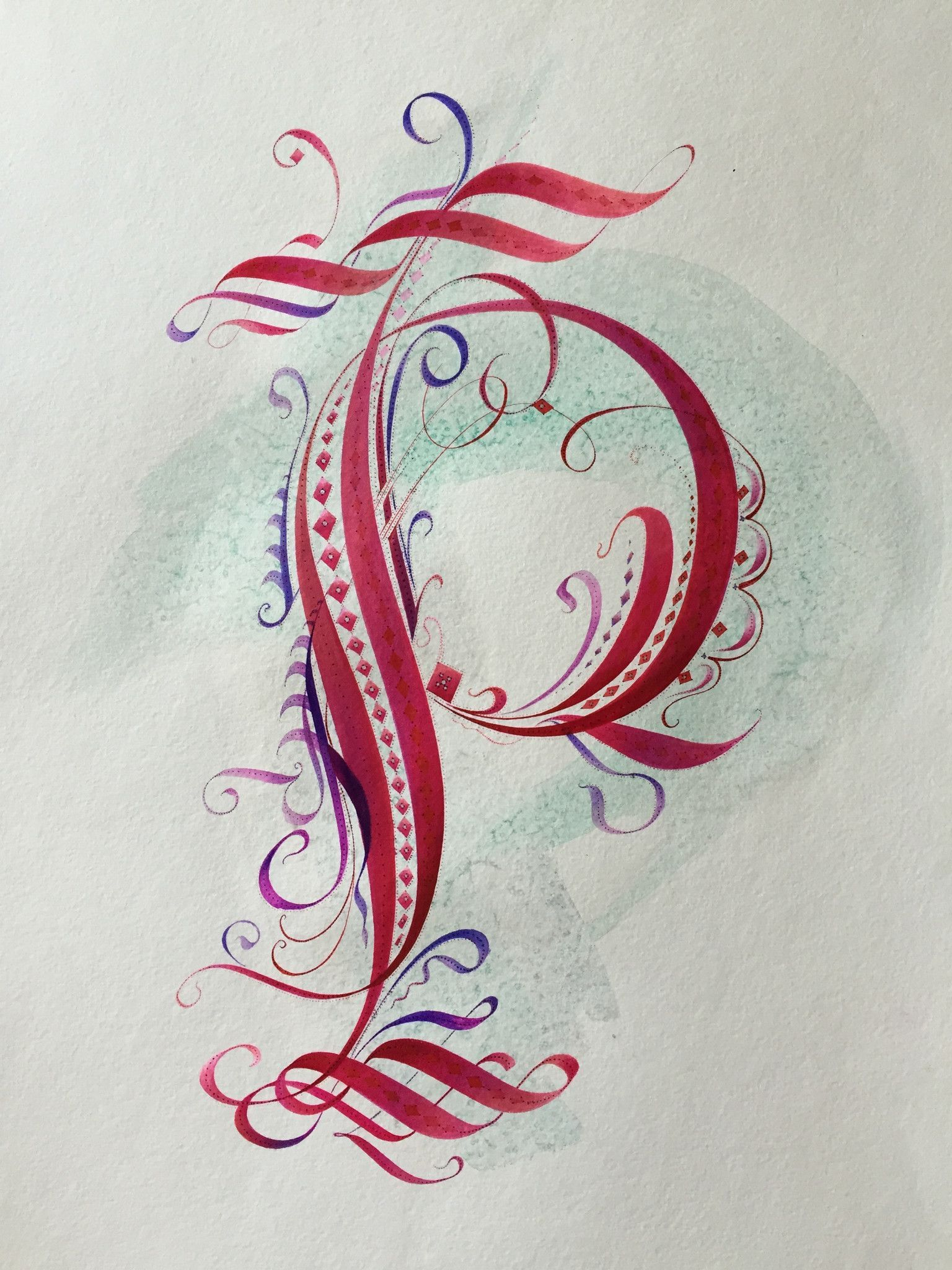 letter formation poems%0A   P   Calligraphic Cadel Capital  Versal  Original Design