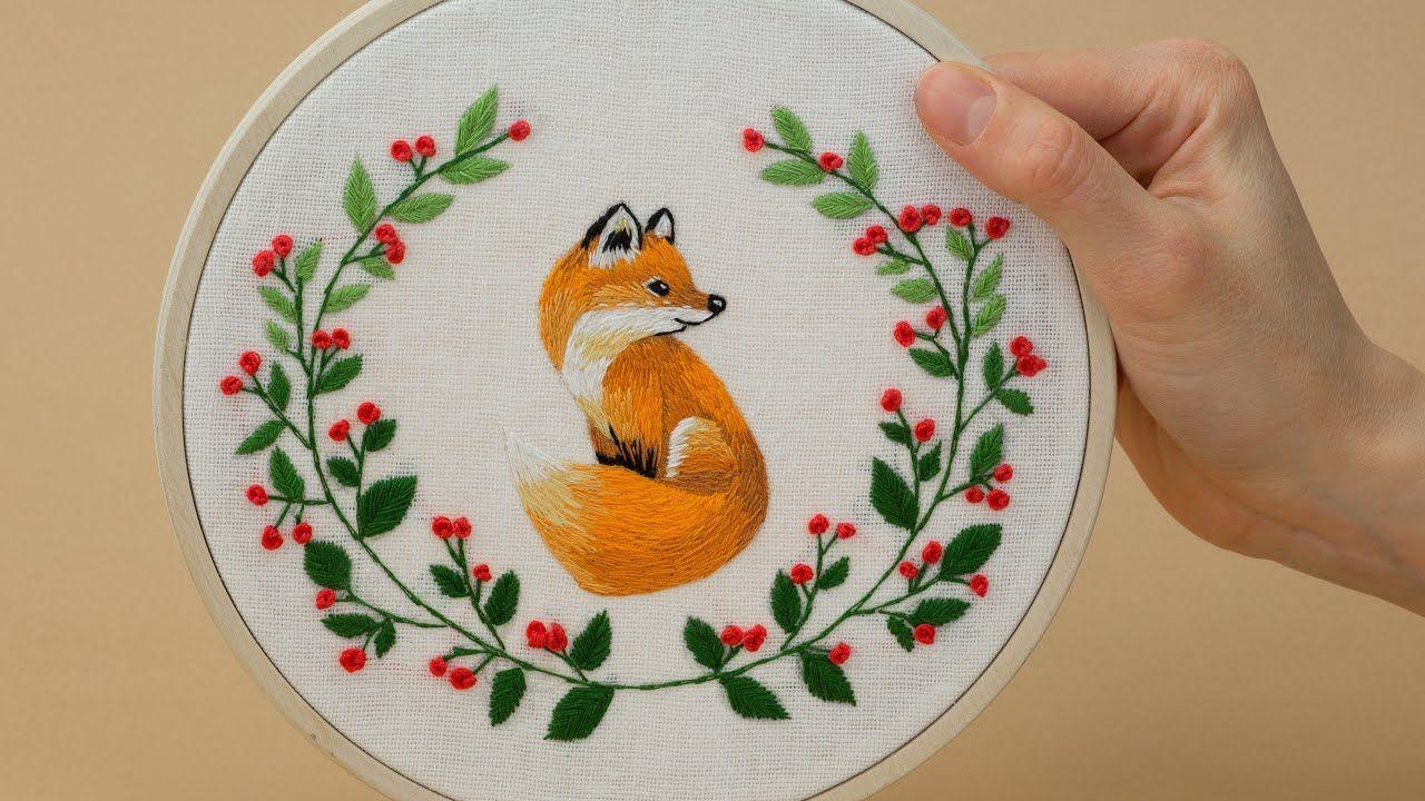 Flower Fox embroidery tutorial