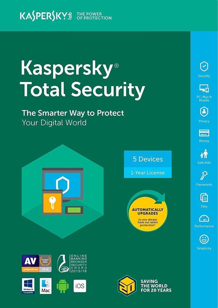 Kaspersky Total Security 2018 5 Devices | PC 1Year License