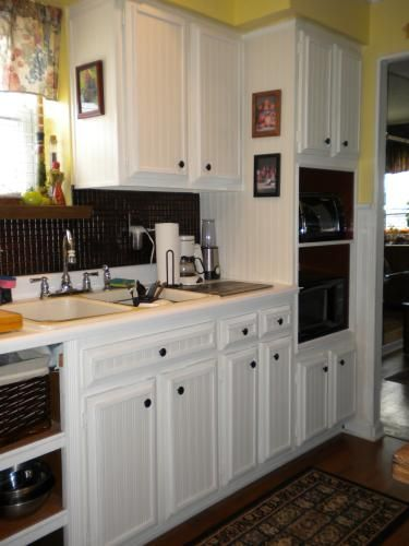 Kitchen Cabinet Update Using Bead Board Wallpaper By Martha At Home Depot Love This Look