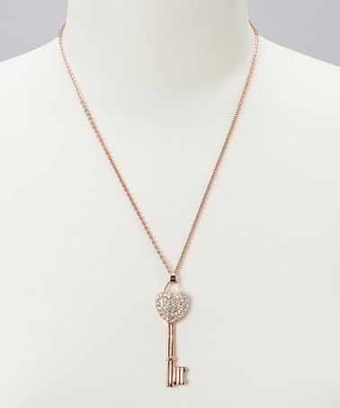 Take a look at this Rose Gold Heart Key Pendant Necklace by BJG Services on #zulily today!