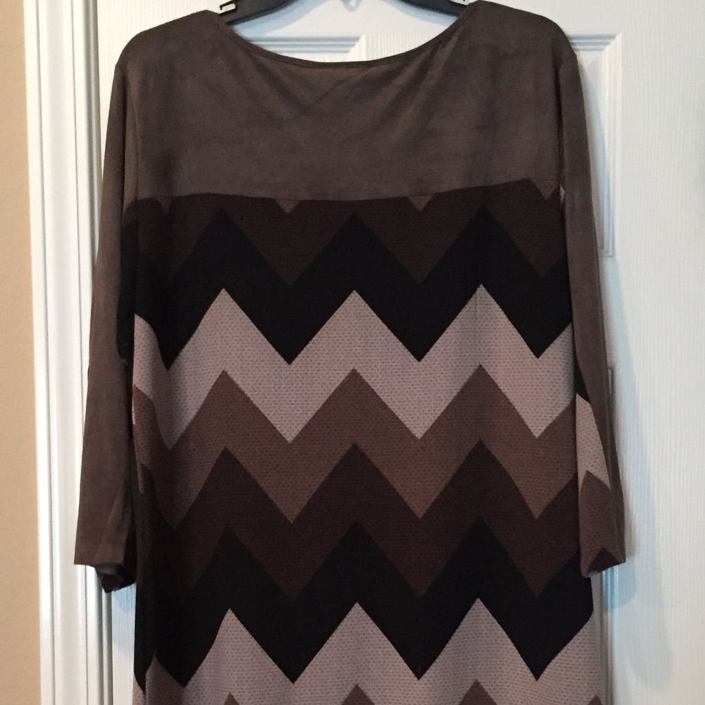 Brown Suede-Like Chevron Dress