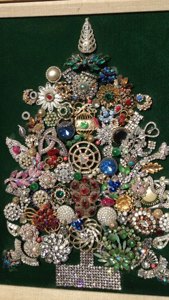 Christmas tree in a frame made with vintage rhinestone pins/brooches