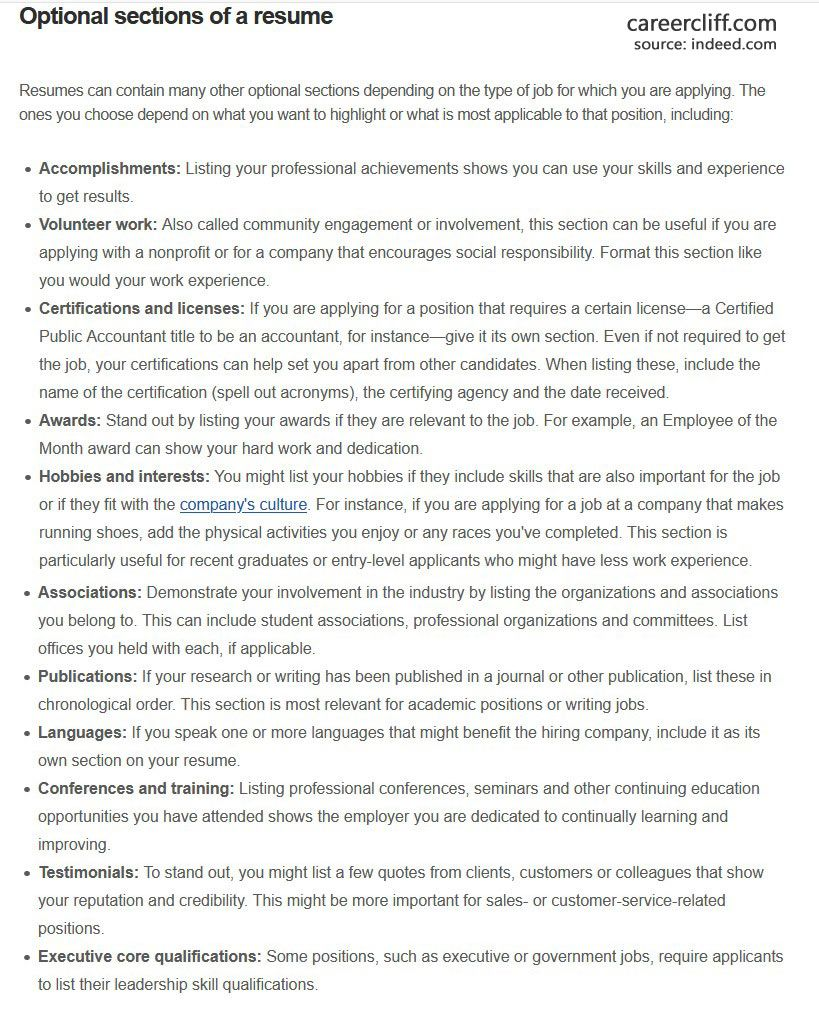Optional sections of a resume profile section of resume about me section on resume resume experience section resume education section examples cv skills section resume sections summary section of resume examples resume certifications section resume template with skills section resume education section sections to put on a resume resume template education section profile section of resume example resume interests section skills section of resume skills section of resume examples summary section of resume objective section of resume hobbies section on resume cv sections cv education section about section on resume cv about me section resume awards section activities section of resume resume section titles cv interests section skills section communication section on resume cv order of sections reference section on resume resume awards section example order of resume sections leadership section on resume cv hobbies section about me section in resume sections to include on resume resume projects section cv profile section resume highlights section activities section on resume job application skills section skills section of resume reddit resume achievements section resume technical skills section resume work experience section hobbies section cv cv summary section personal section on resume about me section of resume cv interest section about me cv section cv key skills section objective section of resume examples career summary section cv about me section examples cv education section example resume qualifications section resume accomplishments section custom section in resume resume other experience cv skills section example resume sections 2019 cv references section cv certification section resume computer skills section resume soft skills section academic cv sections sections in cv cv skills summary cv work experience section interest section in cv cv projects section curriculum vitae sections resume experience section examples the education section of a résumé shoul