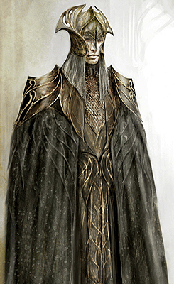 "Conceptual art for the elven-king Thranduil of Mirkwood from ""The Hobbit: The Desolation of Smaug"" (2013).  Love the silhouette of the crown!"