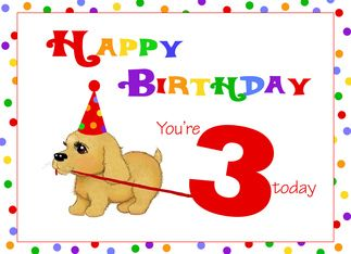 Image result for happy 3rd birthday dog clipart