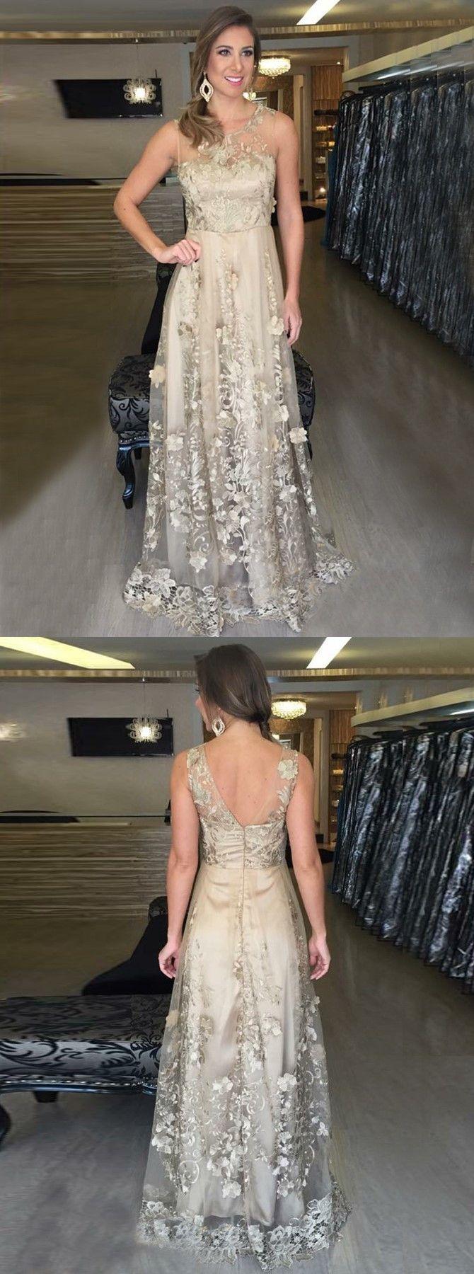 Aline scoop floorlength light champagne tulle appliques prom dress