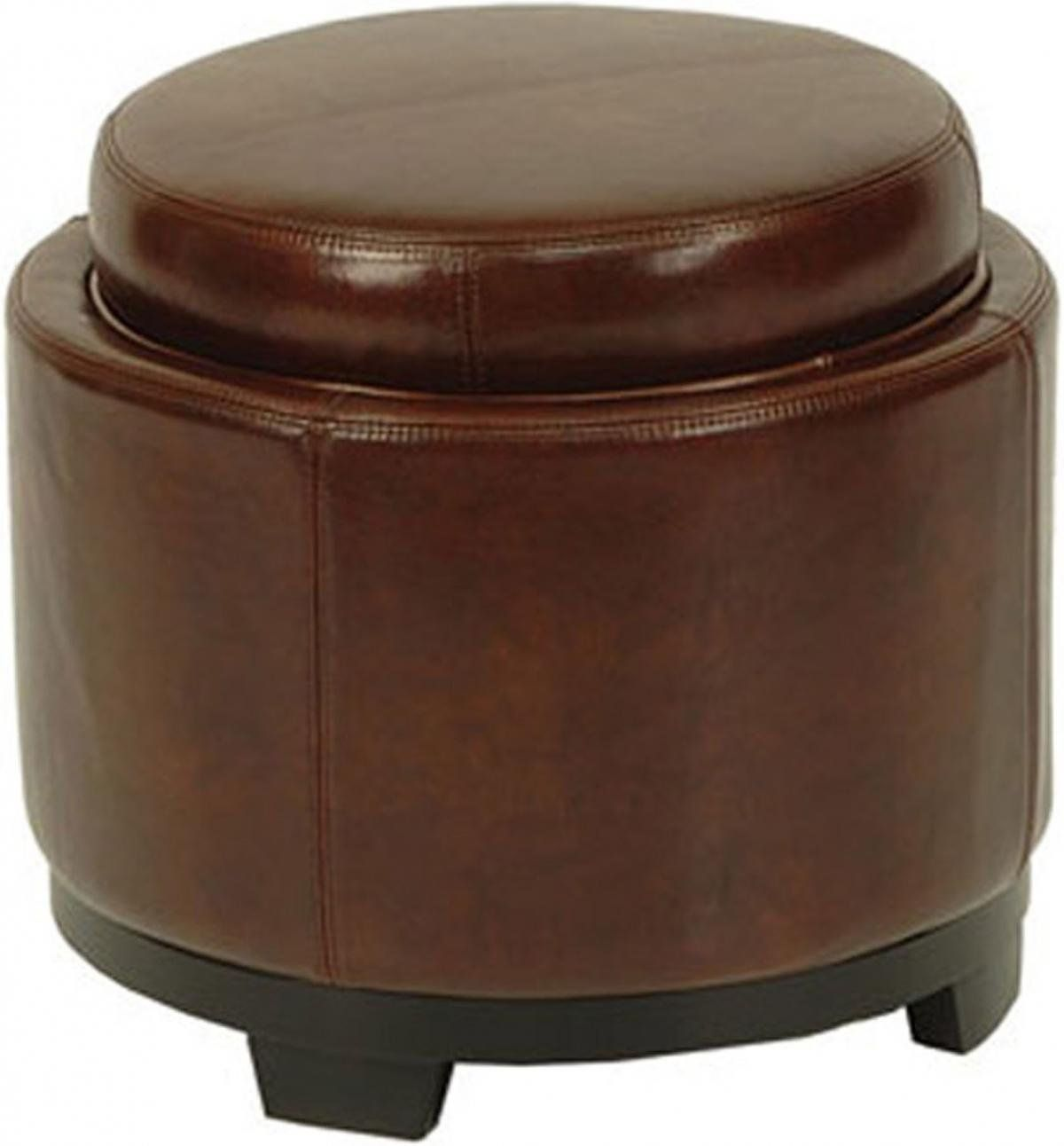 safavieh hudson collection chloe leather single tray round storage ottoman cordovan