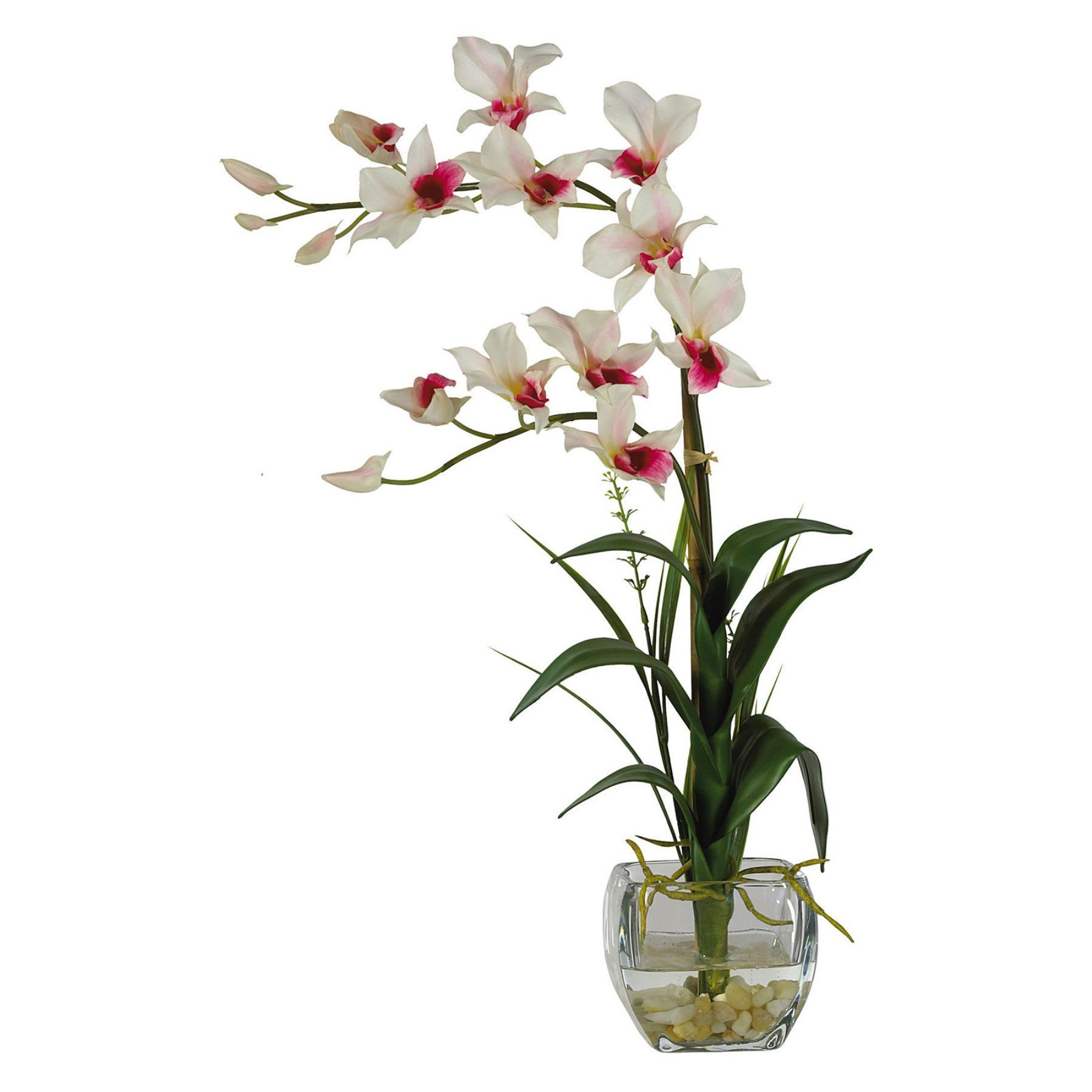 Nearly natural liquid illusion dendrobium silk flower with glass