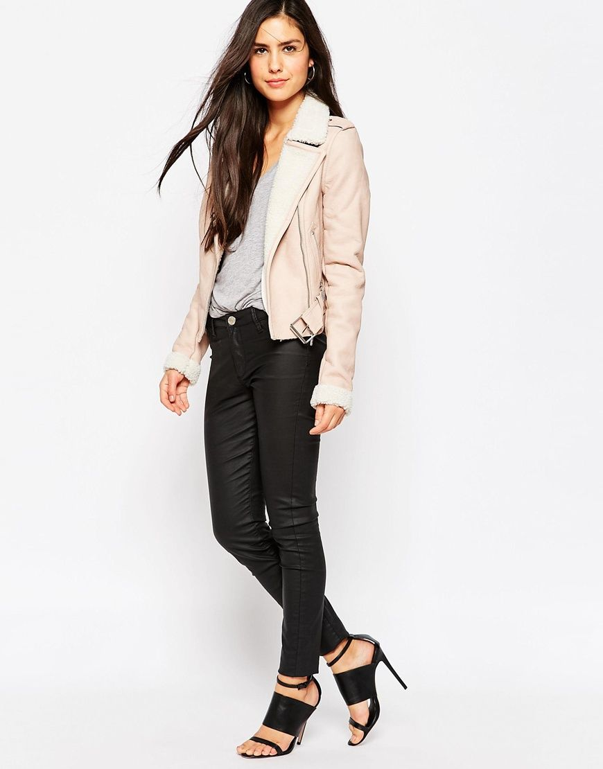 Image of michelle keegan loves lipsy biker jacket with borg trim