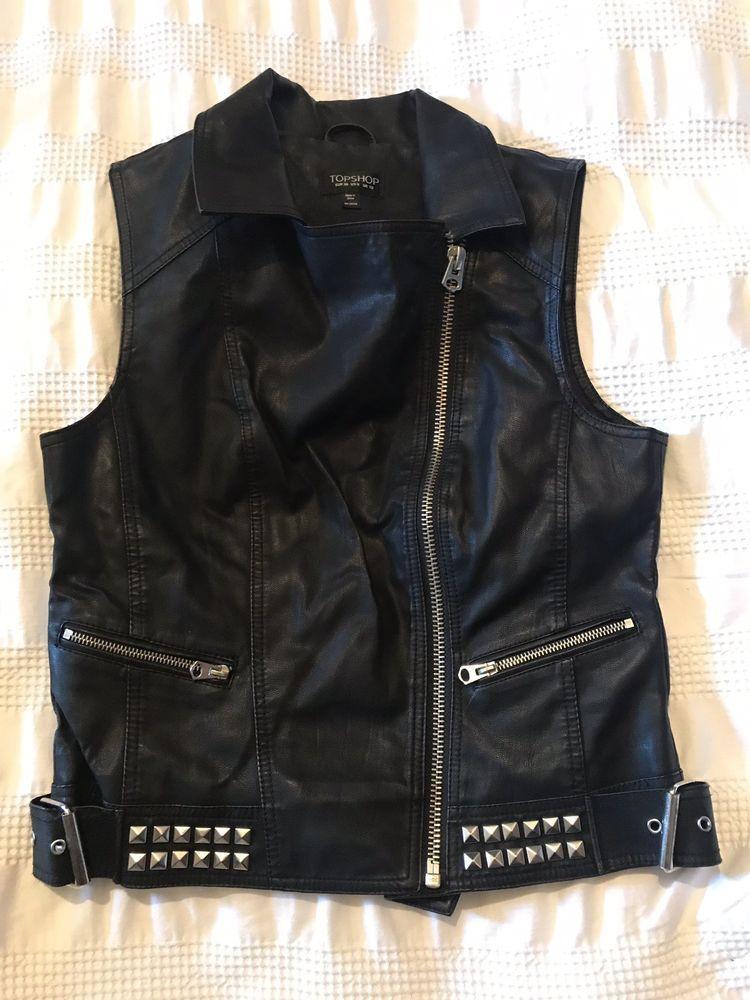 b0f5867866124 Topshop Faux Leather Studded Waist Coat Size 10 VGC  fashion  clothing   shoes  accessories  womensclothing  coatsjacketsvests (ebay link)