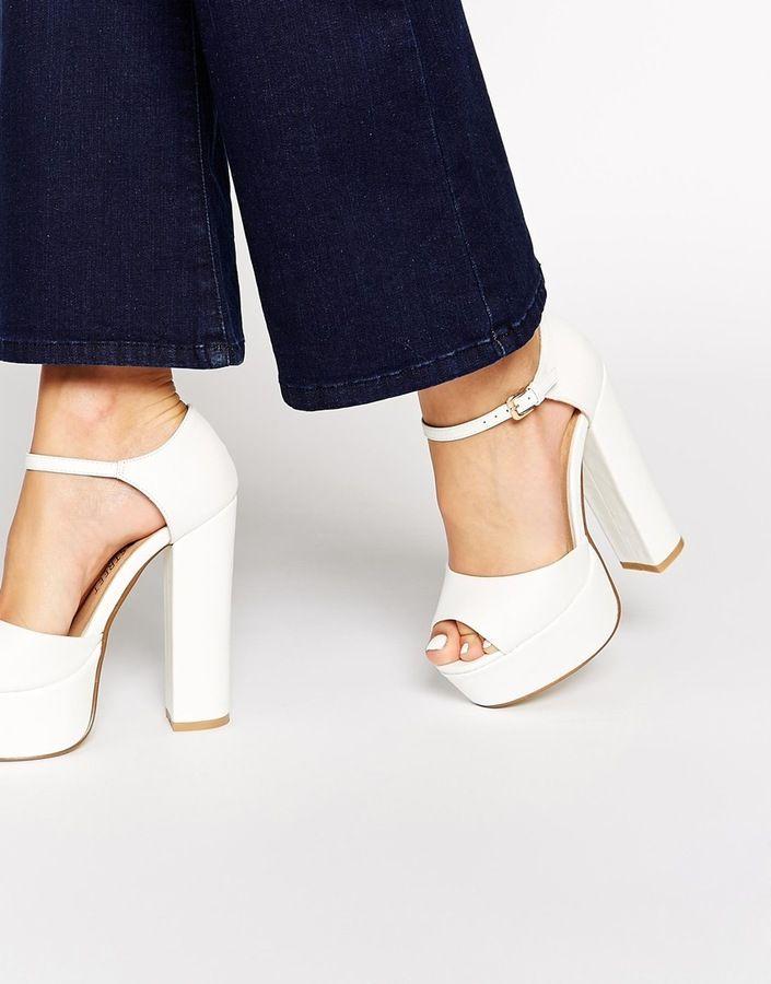 Buy Women Shoes / Daisy Street White Platform Heeled Sandals