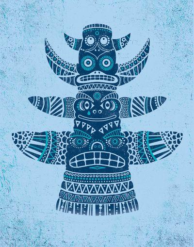 Totem tear - blue Art Print