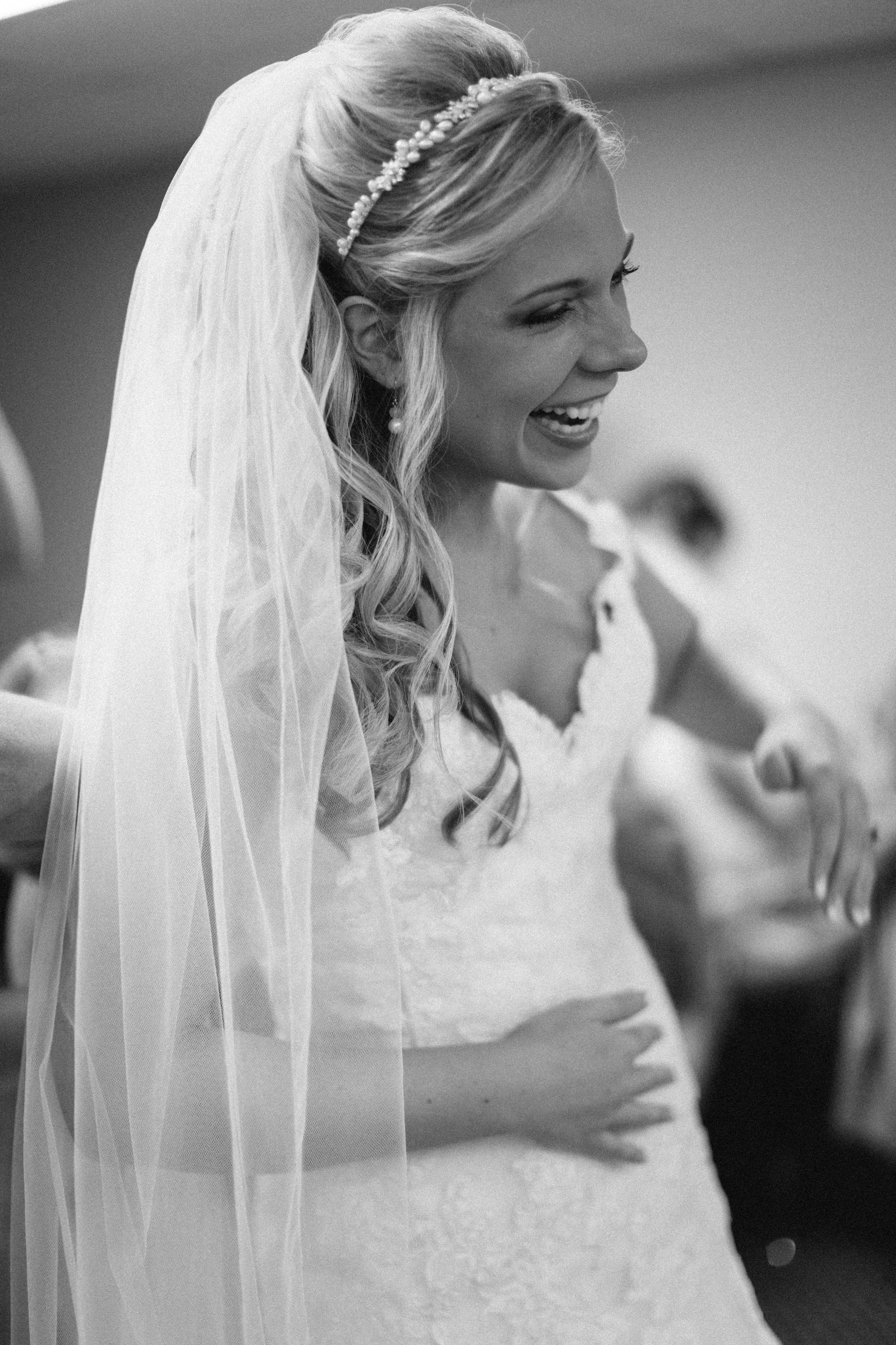 Putting The Dress On Half Up Hair Pearl Headband Cathedral Veil Lace Dress I Like The Headband Country Wedding Hairstyles Veil Hairstyles Bridal Hair Veil