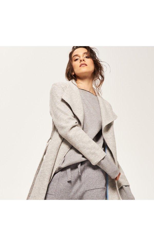 Plaszcz Z Domieszka Welny Kurtki Plaszcze Szary Reserved Clothes Fashion Outerwear