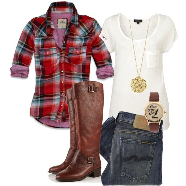 Plaid shirt, skinny jeans, and brown boots. Minus the necklace & watch. Cute but just not me.