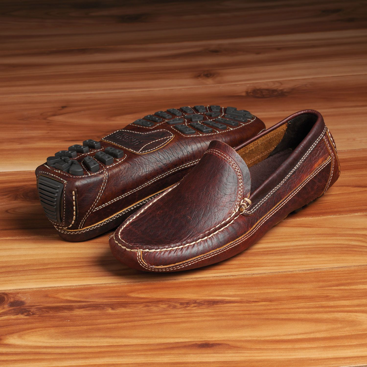 Men S Bison Leather Driving Moccasins Duluth Trading