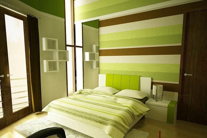 Green And Brown Stripes Painted Walls Bedroom With Green Striped