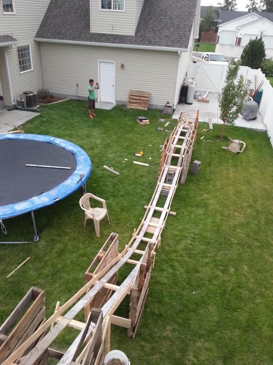 Backyard Rollercoaster Imgur Backyard Backyard Playset Backyard Playground Mini backyard roller coaster