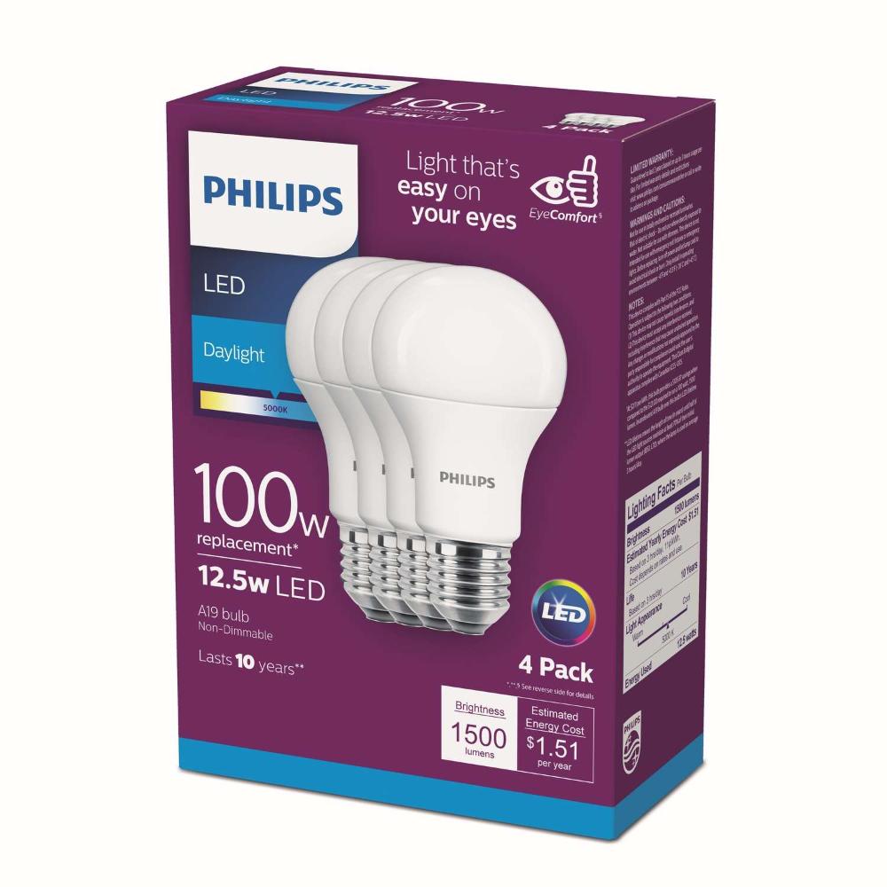 Philips A19 E26 Medium Led Bulb Daylight 100 Watt Equivalence 4 Pk In 2020 Led Bulb Bulb Led Light Bulb