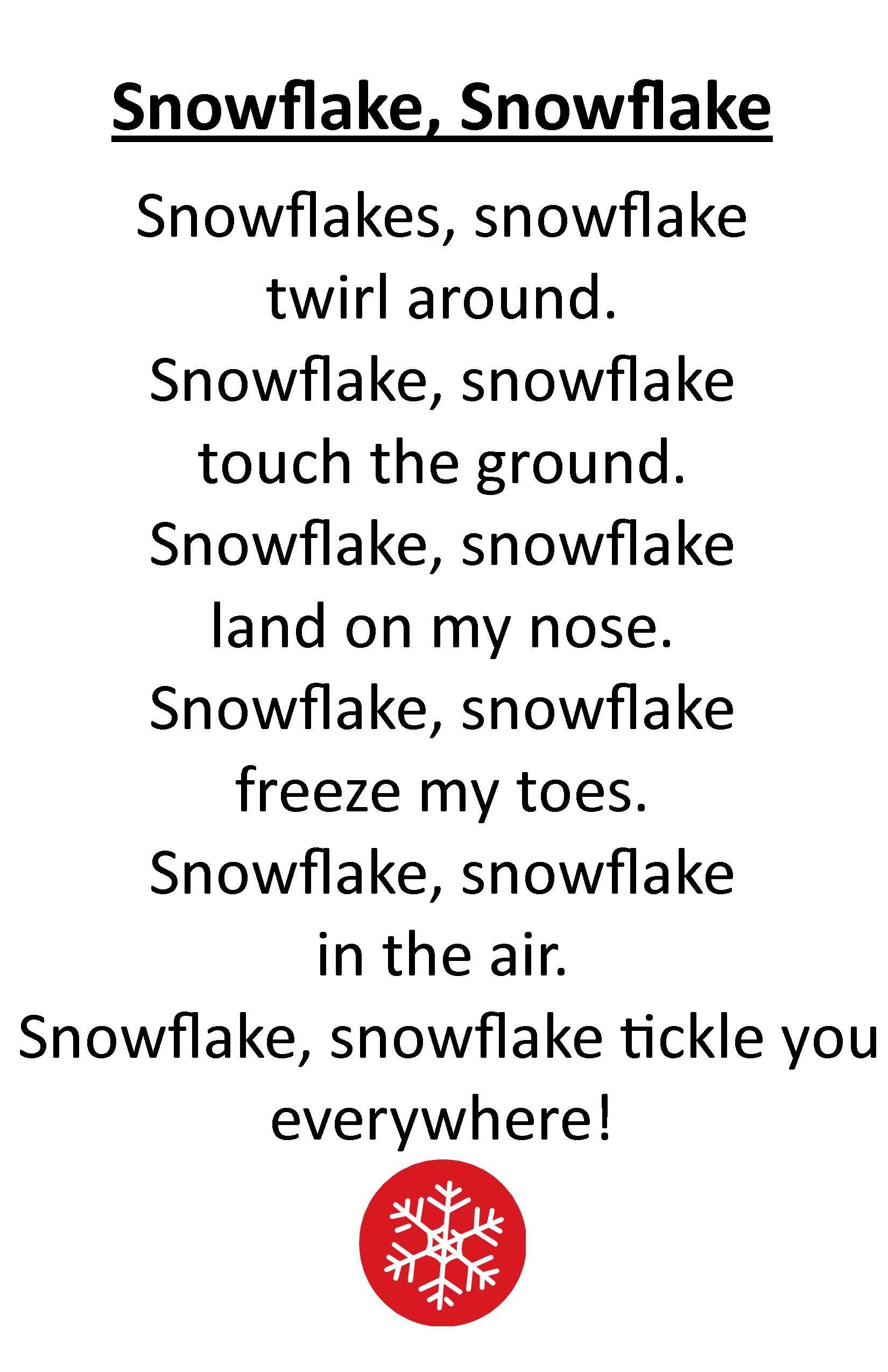 Itty Bitty Rhyme Snowflake Snowflake