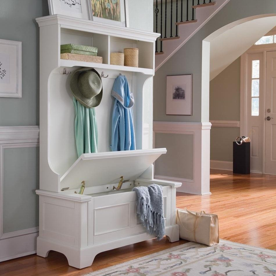 Entryway Storage Bench With Open Shelves Double Hooks Mudroom Organizer Lift