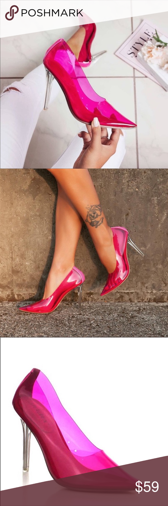 Pink Perspextranslucent Pumps-Run Half Size Small | Color