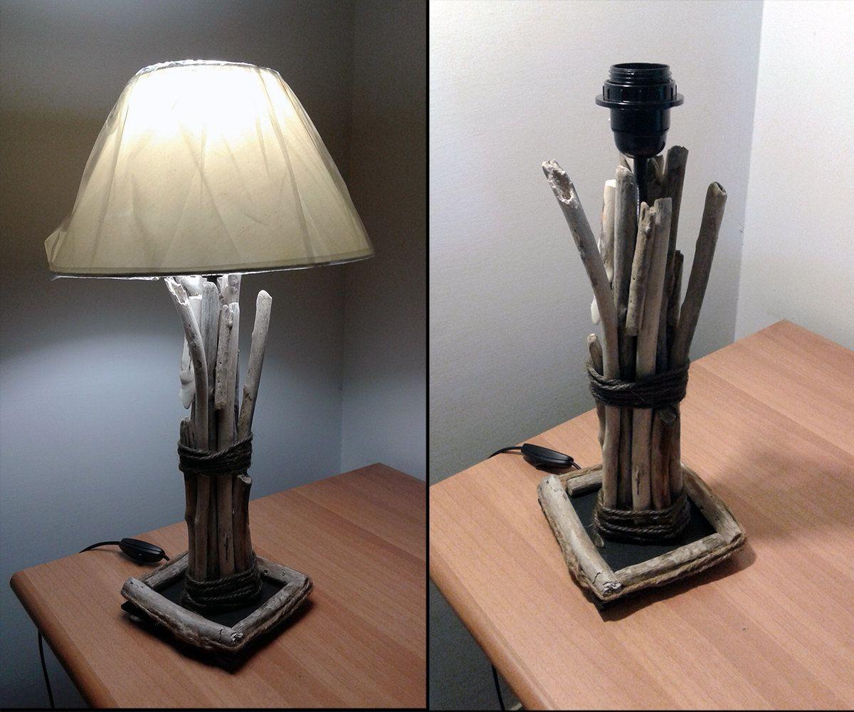 lampada lume artigianale in legno marino da tavolo con paralume ... - Arredamento Classico E Shabby