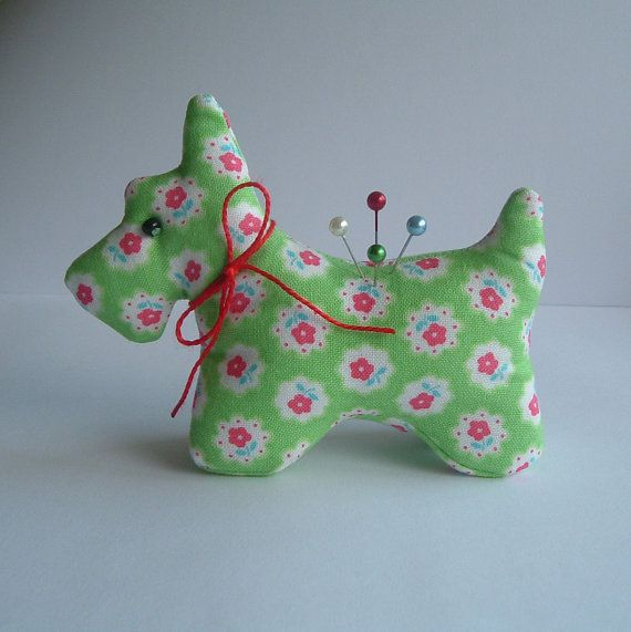 Sweet Scottie Dog Pincushion with Sweet Little FlowersFabric ...