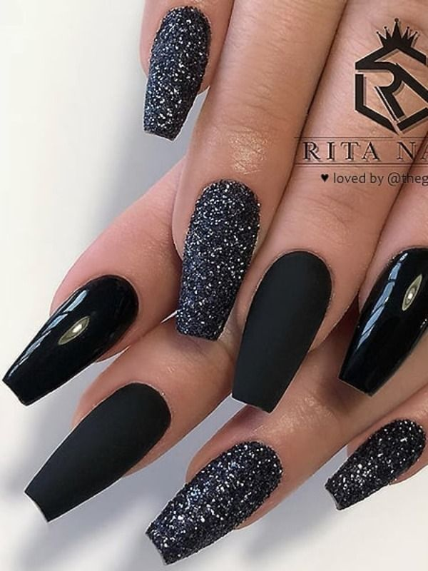 Matt and shiny black and black glitter on coffin nails  – Coffin Nails