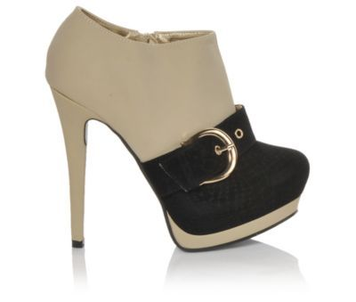 Toupe and black buckle bootie