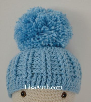 Free Crochet Baby Hat Pattern Ribbed Baby Hat With A Large Pom Pom