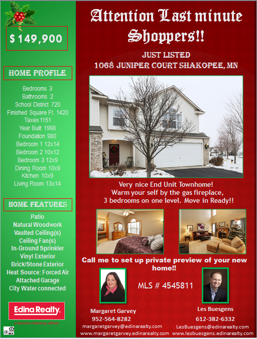 Great New Listing in Shakopee MN!! 12/9/2014