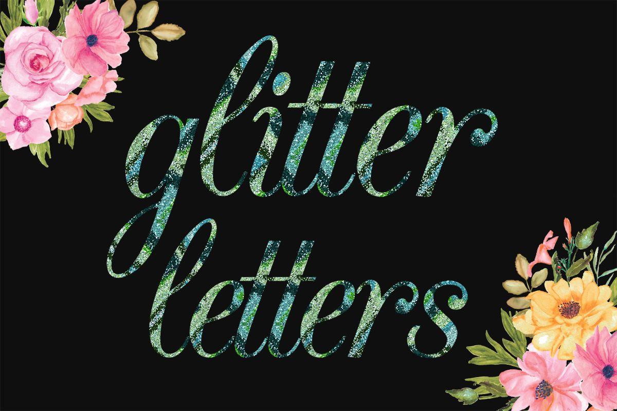 Multi Color Glitter Alphabet, MultiColored PNG Font, Hand