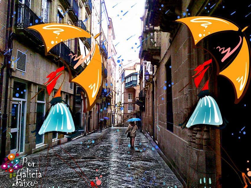 Outro día de choiva na Zona Vella de Ourense