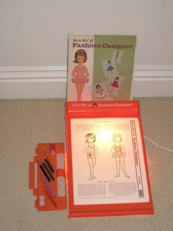 Vintage 1961 Betsy Mccall Fashion Designer Lighted Desk Paper Doll Clothes Patterns Kit Wish We Still Had This Fashion Design Patterns Paper Dolls Betsy