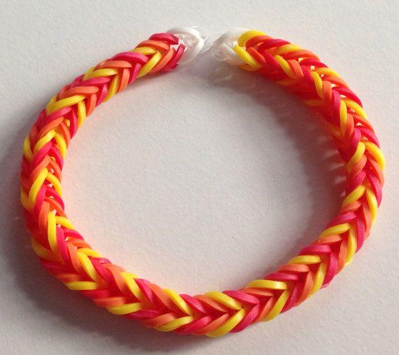 Red, Orange, Yellow Rubber Band Bracelet- Fishtail Pattern ...