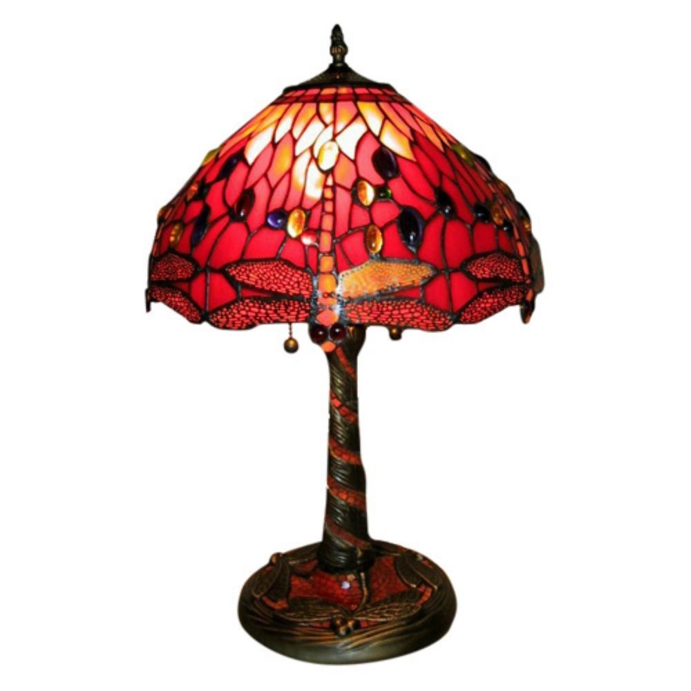 Beautiful Gold Red Table Lamp Stained Glass Home Living Room Office ...