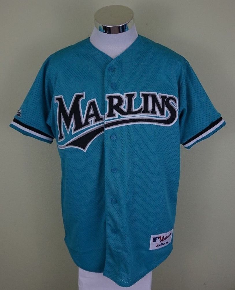 9b7fbe934bd Majestic 90 s Florida Marlins Mesh Teal Multi Baseball Jersey MLB Men  Medium  00  Majestic  FloridaMarlins