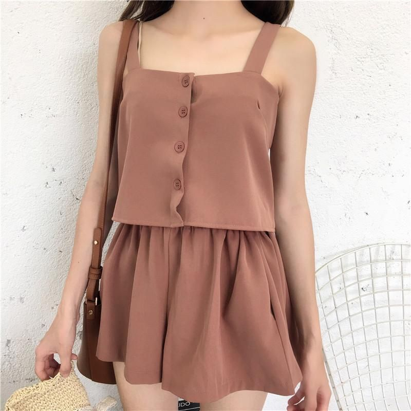 37676d8abf8 itGirl Shop SUMMER 2 IN 1 SET SHORTS TOP RED CAMEL COLOUR Aesthetic Apparel