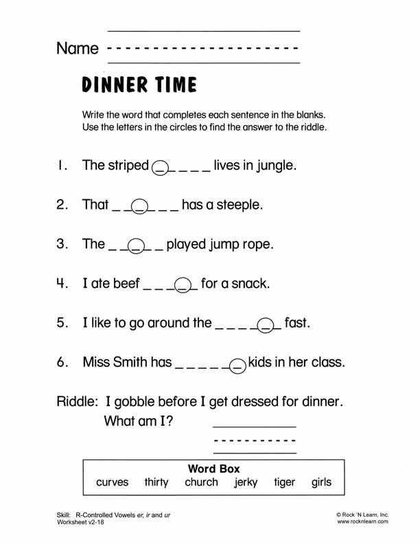 Rcontrolled Vowels er ir and ur Free Phonics Worksheet – Er Worksheets