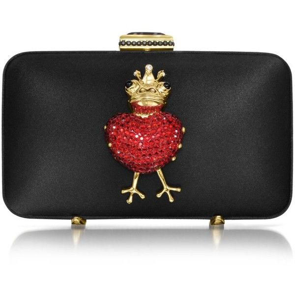 531424858a Moschino Red Heart Satin Clutch